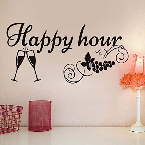 Küchenschiefer Aufkleber Happy Hour Dekoration Weinglas Abnehmbare Schiefer Wandaufkleber Wasserdicht Vinyl 59X29 CM (Happy Halloween Hour)