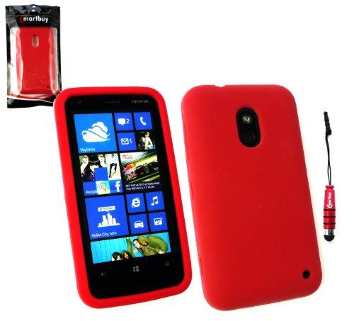 Emartbuy ® Stylus Pack Per Nokia Lumia 620 Mini Metallic Red Stylus + Silicon Cover (Silicon Schermo Pelle Della Protezione)