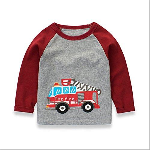 Luerme Kleinkind Kinder Jungen Baumwoll T-Shirt Karikatur Fahrzeug Muster Beiläufiges Lange Ärmel Tops (2-3 Jahre, Feuerwehrauto) (Kinder-kleinkind-shirt)