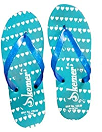 Generic Men's Sky Blue & White Rubber & EVA Casual Hawai Chappal, Size: 7