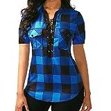 OSYARD Damen Plus Größe Criss Cross Frontgitter Kurzarm Bluse Pullover TopsShirt(EU 46/XL, Blau)
