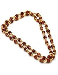 Shree Shyam Gems & Jewellery Brown Gold Plated Shiva God Rudraksha 24 Inches Mala Long Chain for Men and Boys