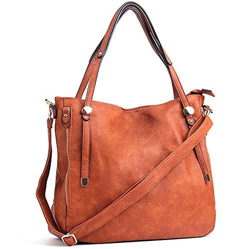 CASELAND PU Leder Taschen Henkeltaschen Large Tote Schultertaschen Damen Umhängetasche Handtaschen Damen Tasche (L:36cm * H:33cm * W:17cm) Braun