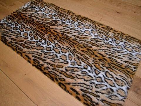 Jaguar Animal Faux Fur Rug. Available in 4 Sizes (70cm x 140cm (Rectangle))