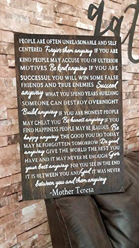 Mutter Teresa Anyway Gedicht Vergessen Forgive Do Good Blessed Family Farmhouse Decor Stil Holz Schild