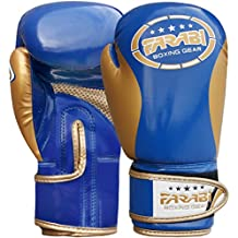 Farabi Kids Boxing gloves best for kickboxing, Martial Arts, MMA, Muay Thai, Fitness and Gym training and punching. (Blue/gold, 2Oz)