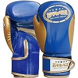 Farabi Kinder Boxhandschuhe, Junior Muay Thai Trainingshandschuhe, Kinder Boxsack-Handschuh (Blau/Gold, 8 Unzen)