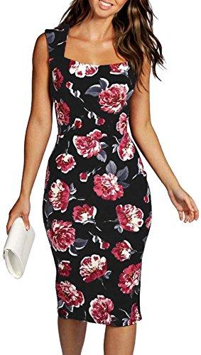 Longwu Frauen der 1950er Jahre Vintage Floral Printed Sleeveless Midi Bleistift dünnes Kleid Schwarz-XL (Keine 2 Bleistift Kostüm)