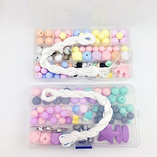 Mamimami Home Baby Teether Unvollendet Lebensmittelqualität Silikon Runde / Sechskant Perlen Diy Schmuck Halskette Armbänder beißring