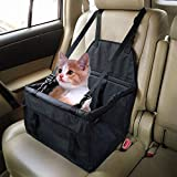 Car Booster Seat Carrier for Dog Folding Pet Cat Car Travel Safety Seat Belt Harness Cover Pet Traveling Carrier Bag Portable with Clip-On Safety Leash and Zipper Storage Pocket Black