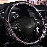 LridSu Echtes Leder-Auto-Lenkrad-Abdeckung - Heavy Duty, dick, langlebig, elegant, kein Geruch, Universal 15 Zoll Steering Cover, Anti-Rutsch-Prägung Muster, schwarz mit roter Linie