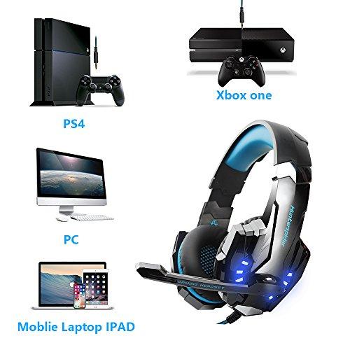 VTAKOL V9 Gaming Headset für PS4, 3.5mm Surround Sound Kabelgebundenes Gaming Kopfhörer mit Mikrofon, LED-Licht, Kopfhörer für Laptop, Xbox one, PC, Smartphone von VTAKOL