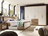 moebel-eins Nando Komplett-Schlafzimmer Canyon Oak/Weiss