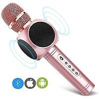 Micrófono Inalámbrico Karaoke Bluetooth 3.0 2 Portátil Altavoces Incorporados para Karaoke Batería de 2600mAh 3.5mm AUX Compatible con PC/ iPad/ iPhone/ Smartphone, Color Rosado