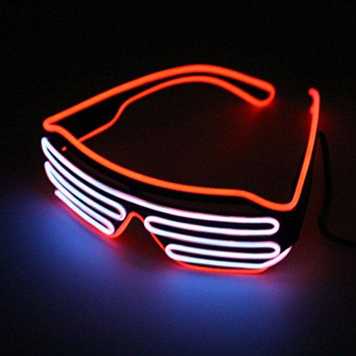Pretty Smart Glasses Rot & Silber heißen Draht LED Neon Licht bis Shutter geformte Gläser für Kostüm Party