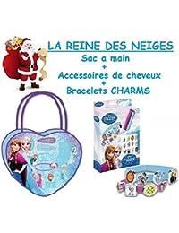Disney - Bolso de mano (incluye collar, pulsera y 3 anillos o juego de accesorios para el pelo), diseño de Frozen