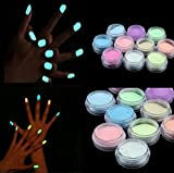 Demarkt Nachtleuchtend Nail Glitzerpuder Nagel Puder Nail Glitzer Nagelkunst leuchtenden Gel Nagel Dekoration 10 Stück zufällige Farben
