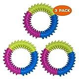 volila Welpen Kauring, Hartgummi Hundespielzeug, strukturierte Ringe für die Hunde Zahnpflege, Kauspielzeug (3 Stück)