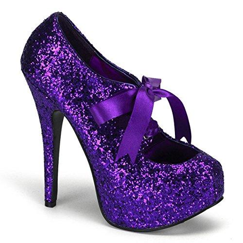 Glitzer Pumps mit Schleife purple Violett