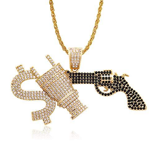 MKHDD Hip Hop Kette Iced Out Maschinengewehr Halskette Pistole Anhänger Tennis Kette Bling Cubic Zirkon Gold Kette Schmuck Geschenk