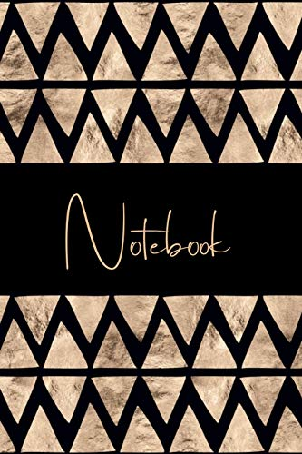 Notebook: College Ruled Journal to write in, Black and Gold, Geometric Pattern Cover