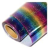 KAIMENG Holographische Streifen Multi Heat Transfer Vinyl Aufbügeln HTV Presse Papier Blatt für Kleidungsstück T-Shirt (50 * 30 cm)
