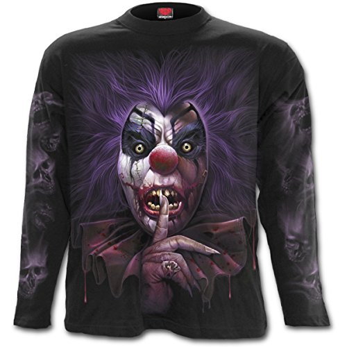 Espiral–Hombres–Calavera–Camiseta de Manga Larga, Color Negro Negro Negro XX-Large
