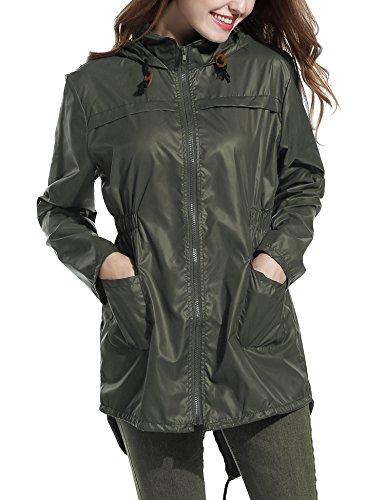 cooshional Damen Regenmantel mit Kapuze, Regenjacke Wasserdicht, Atmungsaktiv Regenparka Armee Grün