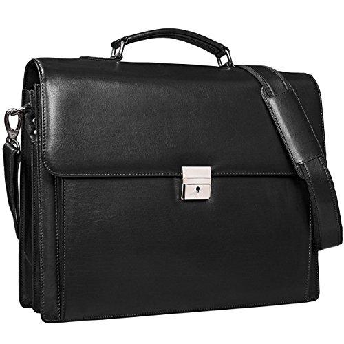 STILORD 'Johann' Klassische Aktentasche Herren Damen Businesstasche für 15,6 Zoll Laptop passend für große DIN A4 Ordner mit Schloss Rinds Leder , Farbe:schwarz