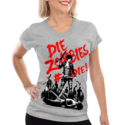 style3 Die Zombie Damen T-Shirt walking horror dixon the halloween dead, Farbe:Grau meliert;Größe:L