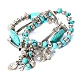 Yazilind Jewelry Turquoise Tibetan Sliver Stretch Overlap Bracelet Bangle for Women