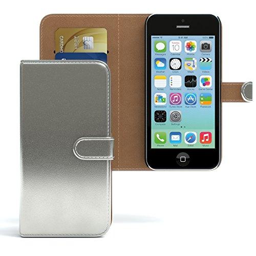 EAZY CASE Hülle für Apple iPhone 5C Hülle Bookstyle mit Standfunktion Book-Style Case aufklappbar, Schutzhülle, Flipcase, Flipstyle, Flipcover mit 2 Kartenfächern aus Kunstleder, Metallic Silber (Case 5c Wallet)