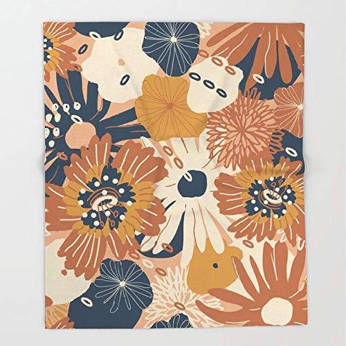 SHHSGZ Herbst orange Blumen Decke Kinder Decke sofadecke plüsch Decke Flauschige kuscheldecke bettüberwurf für Sofa und Couch bettwäsche Wolldecke-M