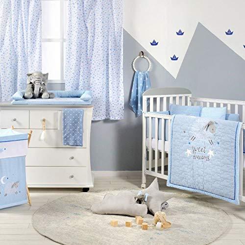 Juego de ropa de cama para bebé, diseño de oveja azul, 3 piezas, 100% algodón, colcha para cuna...