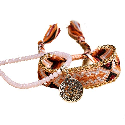 Bangle009 2PCS Exotic Intrecciato Fascia Perline Catena cavigliera Braccialetto Donne Gioielli Beach Party