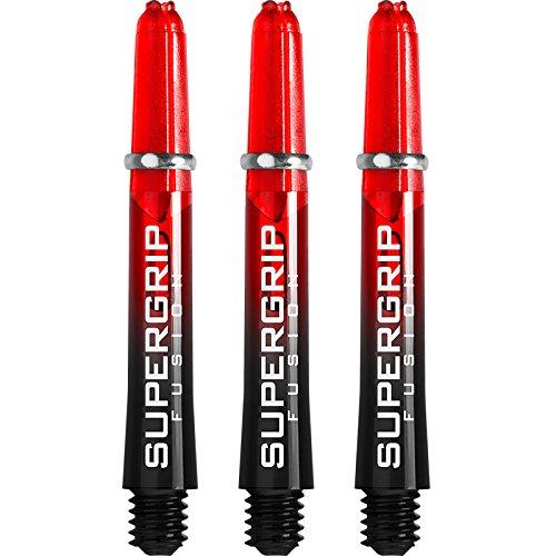 Harrows Supergrip Fusion Dart-Schäfte-schwarz/rot-kurz-5Sets (15 Stück)-mit Curvy-Kugelschreiber von Darts Corner