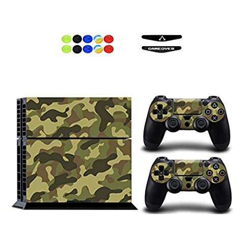 Skin for PS4, Chickwin Vinyl Skin Full Body Cover Sticker Decal For Sony Playstation 4 Console & 2 Dualshock Controller Skins + 10pc Silicone Thumb Grips + 2pc Random Light Bar (Army