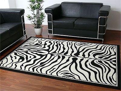 TrendLine Teppich Modern Schwarz Weiss Zebra in 4 Größen