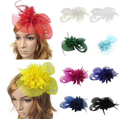 Auranso Flax Netting Feather Flower Beaded Headband With Hair Clip Hairpin For Tea Party Dress Up Fascinator