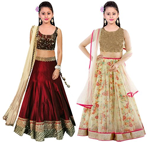 Clickedia Girls Net Lehenga Choli With Blouse Piece_(Combo of 2)_Maroon and Beige_Free Size
