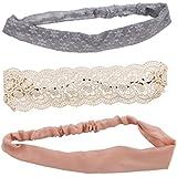 Boho Floral Lace : Lux Accessories Romantic Boho Floral Lace And Crochet Soft Head Wrap Pack (3PCS)