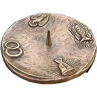 Unbekannt Taufkerzenleuchter Kerzenleuchter Leuchter 4 Symbole Quadrat 14 cm Bronze Edelpatina braun