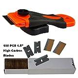1.5'  raschietto rasoio con 100PCS acciaio al carbonio singolo bordo Razor Blades per la rimozione di colla, Registrazione, vernici, decalcomanie