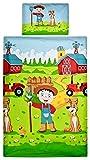 Aminata Kids Kinder-Bettwäsche 100-x-135 cm Bauernhof Bauer Tier-e Pferd-e Traktor Trecker Baby-Bettwäsche 100-% Baumwolle Renforce hell-blau grün rot-er Bunte Junge-n und Mädchen für Aminata Kids Kinder-Bettwäsche 100-x-135 cm Bauernhof Bauer Tier-e Pferd-e Traktor Trecker Baby-Bettwäsche 100-% Baumwolle Renforce hell-blau grün rot-er Bunte Junge-n und Mädchen