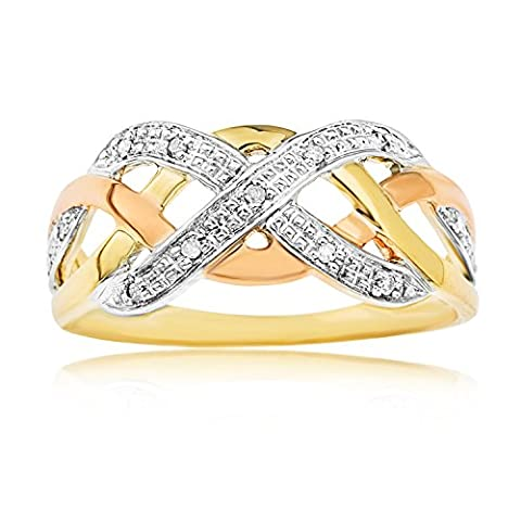 Ornami Glamour 9ct 3 Colour Diamond Set Celtic Weave Band Ring - Size T