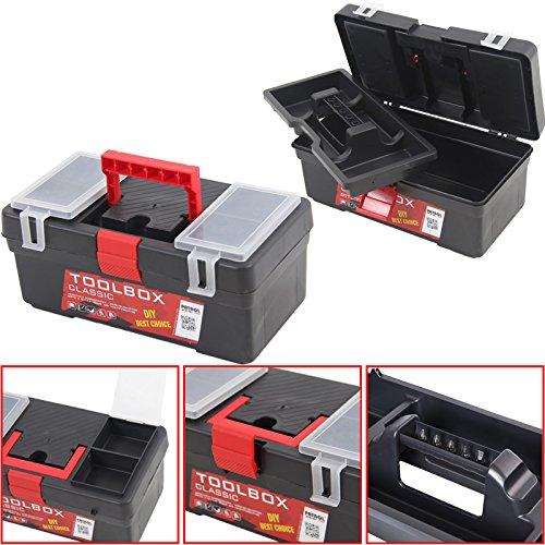 Kunststoff Werkzeugkoffer Classic Profi 12''', 31x18cm Kasten Werzeugkiste Sortimentskasten Werkzeugkasten Anglerkoffer