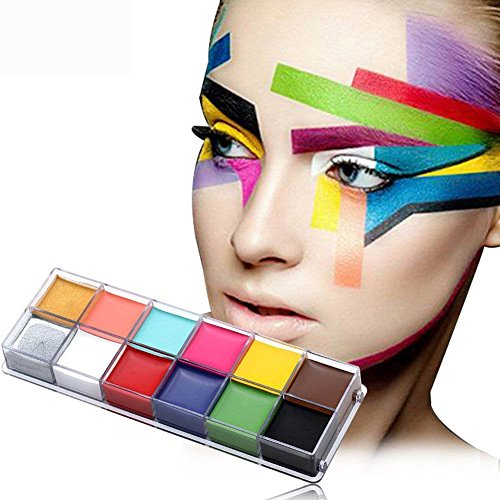 ay 12 Colors Flash Tattoo Face Body Paint All Hallows' Day Oil Painting Art Halloween Party Fancy Dress Beauty Makeup Tools #01 (Art Halloween-make-up)