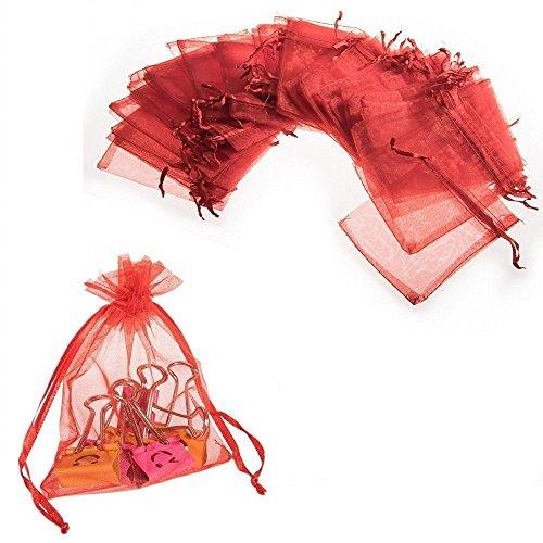 JZK® 50 X Pochettes / Sachets en Organza, pour bonbonnières, bonbons, des petits bijoux, pour le mariage, anniversaire, baby shower et diverses occasions (50x rouge, 12 * 9cm)