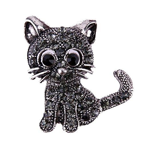 Demiawaking Damen Frauen Legierungs Diamant bestückte nett Katze Kristall Brosche (2)