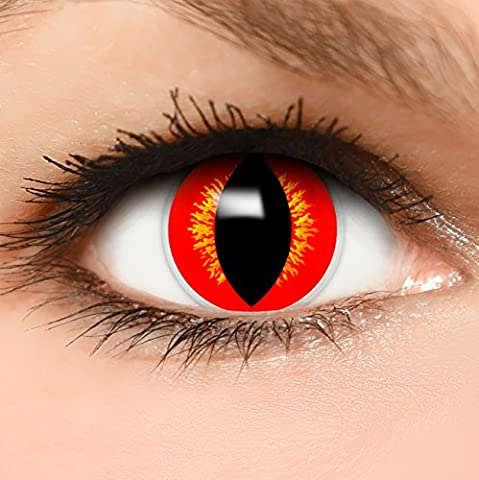 Qualité Halloween - FUNZERA® Lentilles de Contact de Couleur Jaune-Rouge